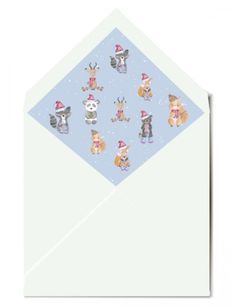 Cute Christmas card with animals dressed up for Christmas. Th lined envelope to match the Christmas card. Christmas Photo Cards, Christmas Photos, Family Christmas, Christening Invitations, Birthday Party Invitations, Birthday Parties, Animal Dress Up, Personalized Stationery, Envelope