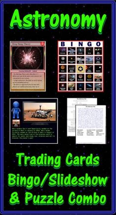 This Astronomy combo pack contains the deck of 54 trading cards, the Bingo/Slideshow (PC & Mac) software with 40 bingo cards, two crossword puzzles and two word searches. Bonus features include additional games, directions for making trading cards, and instructions to make your PowerPoints talk. ($)