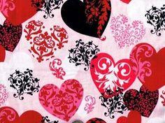 1 Yard Tattoo Valentine Hearts Quilt Craft Flannel Fabric Red Black | auntiechrisquiltfabric - Craft Supplies on ArtFire