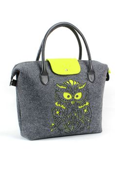 handbag 2013 fall - felt bag, grey green color ,  owl laser cutting picture, 2087 brand, eco friendly material