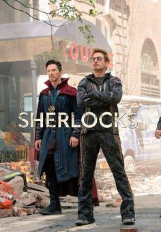 Benedict Cumberbatch and Robert Downey Jr Dr Stephen Strange and Tony Stark Sherlocks Definitely my favorite photo ❤️