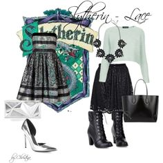 """""""Slytherin - Lace"""" by christinainreiter on Polyvore"""