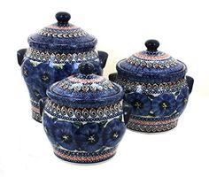 Polish Pottery Blue Art Canister Set Blue Rose Pottery https://www.amazon.com/dp/B00OQJDPS0/ref=cm_sw_r_pi_dp_x_z5lOybP7RPJ61