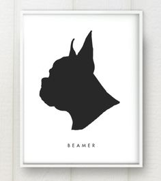 Modern Pet Portrait Custom Silhouette Black and White or Color Print. My mom just ordered one of these with my head, can't wait to see how it turns out!