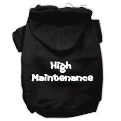High Maintenance Screen Print Pet Hoodies Black XS (8)