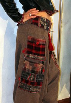 Checked patchwork yoga pants with belt by jamfashion on Etsy