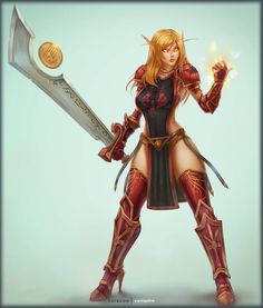 Synea Pinup by vempirick on DeviantArt Fantasy Female Warrior, Fantasy Armor, Fantasy Girl, Wow Of Warcraft, Warcraft Art, World Of Warcraft Characters, Fantasy Characters, Fictional Characters, Ancient Myths
