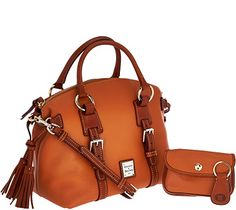 Dooney & Bourke Pebble Leather Domed Satchel w/Accessories - A240161 — QVC.com. in light grey