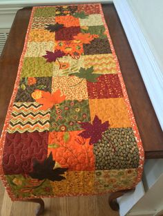 Reversible Fall table runner quilted table by TheQuiltedPillow