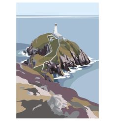 The South Stack Lighthouse on Anglesey Digital Print (Archival) Size x Edition 250 Post & Packing Art Deco Posters, Gravure, Illustrations, Artist Art, Cool Artwork, Painting Inspiration, Digital Illustration, Lighthouse, Sea Paintings