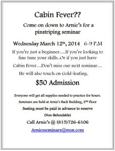 Pin-striping Seminar Wednesday, March 12th, 2014