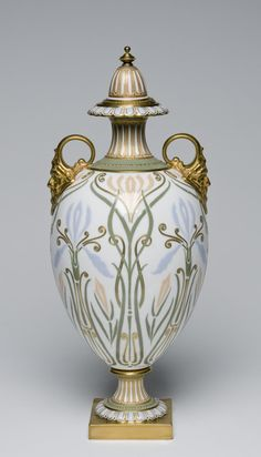 Vase with Cover Designed and painted by Robert Allen, English, active from c. 1877, died 1934. Made by Doulton & Company, Lambeth, England, 1815 - present. Geography: Made in Lambeth, England, Europe Date: c. 1900 Medium: Soft-paste porcelain with enamel and gilt decoration
