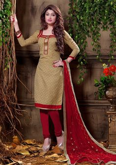 USD 21.68 Beige Cotton Jacquard Churidar Suit 55948