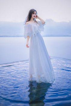 YOSIMI 2018 Summer Dress Maxi Elegant Embroidery White Long Women Dress Chiffon Lace Fairy Dress Off The Shoulder Female Vestido. Long Dress Fashion, Cute Fashion, Fashion Dresses, Pretty Dresses, Beautiful Dresses, Fairy Dress, Fantasy Dress, Chiffon Dress, Lace Maxi