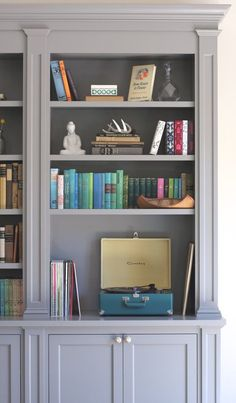 Built In Bookcase - Megan Bachmann Interiors benjamin moore chelsea gray More