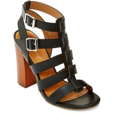 Bamboo Embark Chunky Gladiator Sandals ($40) ❤ liked on Polyvore featuring shoes, sandals, roman sandals, thick heel sandals, greek sandals, gladiator sandals shoes and gladiator sandals
