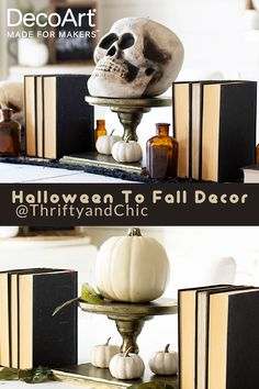 @thriftyandchic creates this stunning centerpeice perfect for all seasons! Sparkle Paint, Black Runners, Amber Bottles, Wood Plaques, Tray Decor, Tablescapes, Halloween Decorations, Fall Decor, Christmas Crafts