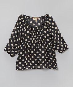 Another great find on #zulily! Black & White Polka Dot Babydoll Top - Girls #zulilyfinds