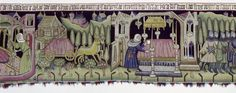 Tapestry with scenes from the legend of St. Sebald, c. 1425, Nuremberg, Material / Technique: knitting, chain: linen, dyed, weft: wool, several colors, white linen, lace at the bottom Brettchenweberei, chain: undyed linen, income (= fringe): Wool, white, red, blue, warp density 6-7 threads / cm, tape 4 threads / cm, Dimensions: a) H. 112 cm; as 642 cm b) H. 102 cm, 105 cm B.