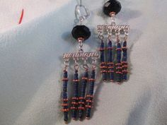 Lapis lazuli and copper on sterling silver tribal style earrings by ScreenGems333 on Etsy, $28.00