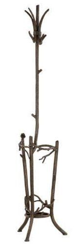 Pine Umbrella Stand w Coat Rack in Hand Rubbed Bronze by Stone Country Ironworks. $1164.00. Easy glider inserts to protect your flooring. 14 in. W x 14 in. D x 66 in. H (40 lbs.) Dazzling hand-forged realism reflected in the natural beauty of this evergreen conifer. The gifted black-smith artisans here in the hills of Arkansas make every effort to translate every detail, from the rustic elegance of a hand-made pine-cone, to the warm texture of hammered bark. Transform any room by...