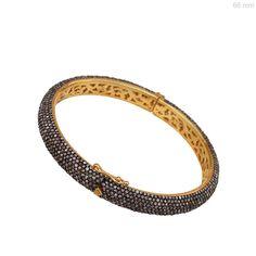 Pave 10ct Diamond Bangle Sterling Silver Vintage Look Bracelet 14k Gold Jewelry #raj_jewels #Bangle