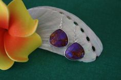 Purple Teardrop Earrings Sterling Silver Purple by lauralidesigns, $18.75