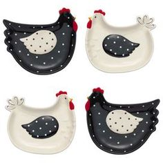 """Set of four hand-painted earthenware plates with hen design and polka dots. Dishwasher safe.    Product: Set of 4 plates Construction Material: Earthenware Color: Black, white and red Features:  Hand-painted Dimensions:  .5"""" H x 7"""" W x 6"""" D eachCleaning and Care: Dishwasher safe"""