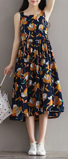 US$27.67 Casual Women Strap Pleated Silhouette Print Dresses