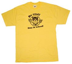 Be Cool Stay In School T Shirt Owl Tee Shirt by Shirtmandude, $12.00