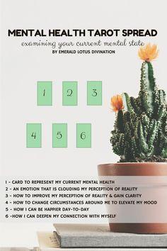 Tarot Spread - Examining Your Mental Health — Emerald Lotus Divination - Mental health self awareness self improvement illness free tarot spread - Mental Health Awareness Day, Mental Illness Awareness, Self Awareness, Lotus, Tarot Card Spreads, Tarot Astrology, Def Not, Free Tarot, Oracle Tarot