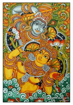 Radha Krishna Mural Painting By Shamilart Kalamkari Painting, Krishna Painting, Madhubani Painting, Krishna Art, Hare Krishna, Pichwai Paintings, Indian Art Paintings, Modern Art Paintings, Buddha Kunst