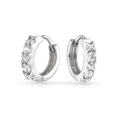 Bling Jewelry XOXO Hugs And Kisses CZ Huggie Earrings 925 Sterling Silver Hoops See This Great Product Scarlet Johnson Gift Ideas For 50 Years