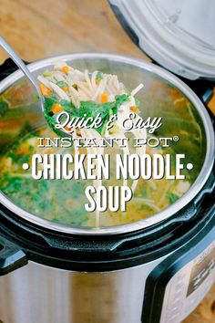 A super quick and easy homemade chicken noodle soup made in the Instant Soup. This Instant Pot recipe uses simple ingredients for the ultimate flavor-rich..