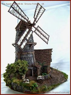 Tabletop-World-Concurso-Ganadores-Winners-warhammer-Scenery-The-Apple-tree-Mill-molino Fantasy Castle, Fantasy House, Medieval Fantasy, Casa Medieval Minecraft, Medieval Houses, Miniature Fairy Gardens, Miniature Houses, Popsicle Stick Houses, Popsicle House