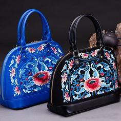 NianXu-15158C Blue lotus floral embroidery Asian inspired blue leather handbag for women 002