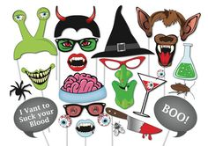 Here is the ultimate collection of Halloween photo booth props! Tons of Fun!! Great for a table centre piece or photo booth.    Contains 37