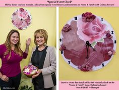 "SET YOUR DVR'S FOR MONDAY! Shirley Bovshow shows you how to make a clock from special event flowers and momentos to preserve your memories through functional art. Monday, Jan 26 @ 10am pst on ""Home & Family"" show on Hallmark channel. With Cristina Ferrare and Mark Steines EdenMakers.com"