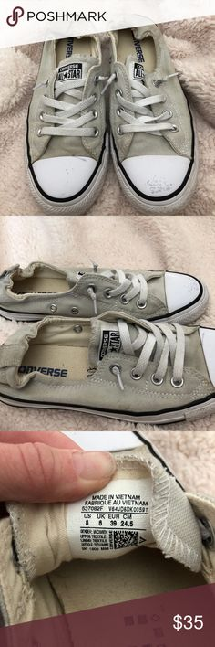 GREY CONVERSE SHORELINE SLIP ON WOMENS 8 MENS 6 ♡Grey converse!Slip on style, PERFECT for slipping on and going no need to tie them! These are my favorite shoes to go with everything and are more comfortable than the original in my opinion  BRAND NEW CONDITION. Soles are nice and clean, only worn a few times. Flaws are that the backs are a little dirty but can easily be cleaned and a scuff mark on the left shoe.  ♡ Sizing = Women's 8 Men's 6 = fits true to size ❗️Always open to offers❗️…