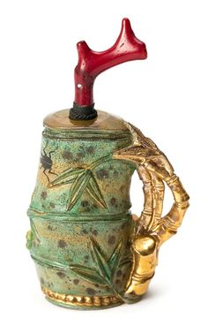 Chinese tobacco jar in smoked, enamelled and gilded glass, with coral lid, first third of the 20th Century #InlarariaStudio #inspo