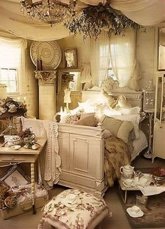 Vintage bedroom. I would love to languish in this bedroom reading poetry and sipping a glass of wine.