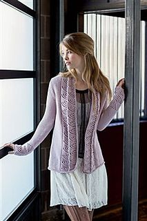 Lace columns and an I-cord edging dress up a swingy cardigan. Jacket is knit flat in one piece from the bottom up.