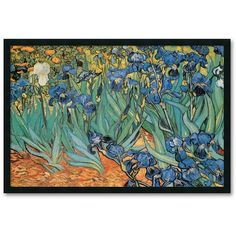 ''Garden Of Irises'' Framed Wall Art by Vincent van Gogh, Black ($170) ❤ liked on Polyvore featuring home, home decor, wall art, black, garden wall art, black framed wall art, black wall art, vertical wall art and framed wall art
