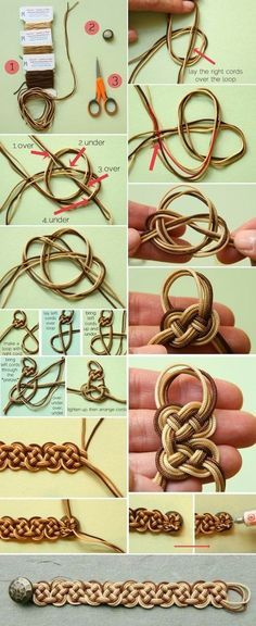 Lovely ombre celtic knot bracelet tutorial. Pinning this for @Gale Lawler L. because I know she loves Celtic knots. ラブリーなオンブルケルト結び目のブレスレットのチュートリアル