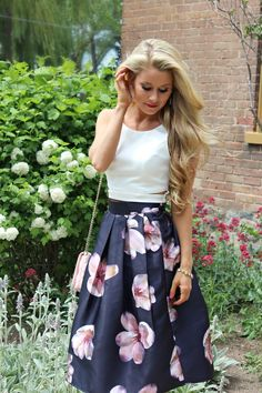 Midi Floral Skirt on Lovely Little Style