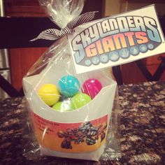 Skylander giants party favors. Thanks for helping me blow out my candles. Fry boxes filled with bubble gum.