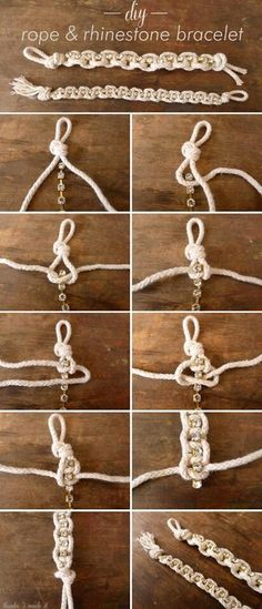 Rope and rhinestone bracelet