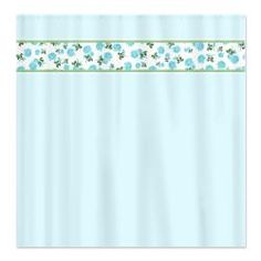 Baby Blue flowers on pastel blue country cottage / shabby chic shower curtain