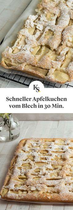 #apfelkuchen #blechkuchen #schnellekuchen Dieser schnelle Apfelkuchen vom Blech ist das perfekte Rezept, wenn sich kurzfristig viele Gäste ankündigen!