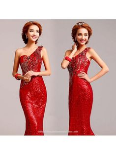 e2fe55d41e1 Burgundy red sequin embroidered 3D floral Chinese bridal wedding dress one  shoulder mermaid trailing evening gown
